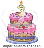 Layered Third Birthday Party Cake