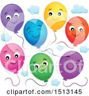 Colorful Party Balloons And Clouds