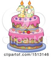 Clipart Of A Layered Tenth Birthday Party Cake Royalty Free Vector Illustration