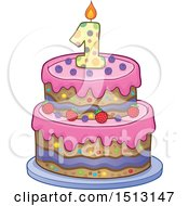 Clipart Of A Layered First Birthday Party Cake Royalty Free Vector Illustration