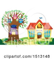 Clipart Of A Teacher Owl And Students In A Tree Near A School House Royalty Free Vector Illustration by visekart