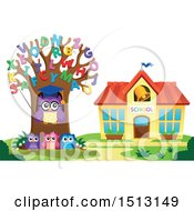 Clipart Of A Teacher Owl In An Alphabet Letter Tree And Students Near A School House Royalty Free Vector Illustration by visekart
