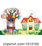 Clipart Of A Teacher Owl In A Number Tree And Students Near A School House Royalty Free Vector Illustration by visekart