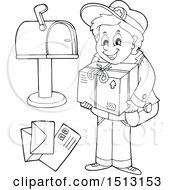 Clipart Of A Black And White Happy Mail Man With Letters A Package And Mailbox Royalty Free Vector Illustration