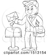 Clipart Of A Black And White Happy Mail Man Holding An Envelope Over A Mailbox Royalty Free Vector Illustration