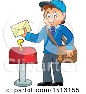 Clipart Of A Happy Mail Man Holding An Envelope Over A Mailbox Royalty Free Vector Illustration