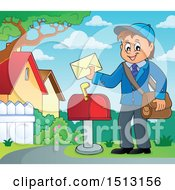 Poster, Art Print Of Happy Mail Man Holding An Envelope Over A Mailbox