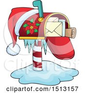 Clipart Of A Christmas Mailbox With A Santa Hat Royalty Free Vector Illustration