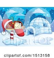 Poster, Art Print Of Christmas Mailbox With A Santa Hat By An Igloo