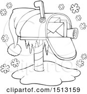 Clipart Of A Black And White Christmas Mailbox With A Santa Hat Royalty Free Vector Illustration