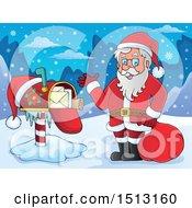 Poster, Art Print Of Santa Claus By A Christmas Mailbox