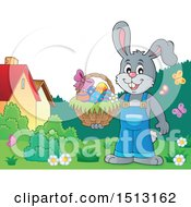 Clipart Of A Happy Bunny Rabbit Holding An Easter Basket Royalty Free Vector Illustration by visekart