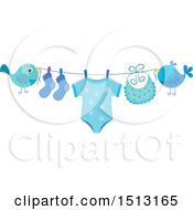 Clipart Of A Pair Of Birds Holding A Clothesline With A Blue Baby Boy Onesie Socks And Bib Royalty Free Vector Illustration by visekart