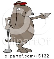 Pro Golfing Dog Wearing A Red Visor Hat And Standing With His Ankles Crossed While Leaning On A Golf Club And Pointing Graphic Clipart