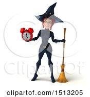 Clipart Of A 3d Sexy Blue Witch Holding An Alarm Clock On A White Background Royalty Free Illustration