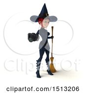 Clipart Of A 3d Sexy Blue Witch Holding A Camera On A White Background Royalty Free Illustration