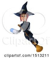 Clipart Of A 3d Sexy Blue Witch Holding A Pill On A White Background Royalty Free Illustration