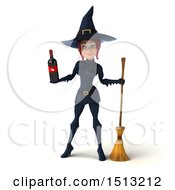 Clipart Of A 3d Sexy Blue Witch Holding Wine On A White Background Royalty Free Illustration