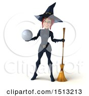 Clipart Of A 3d Sexy Blue Witch Holding A Golf Ball On A White Background Royalty Free Illustration