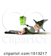 Clipart Of A 3d Sexy Green Witch Holding A Recycle Bin On A White Background Royalty Free Illustration