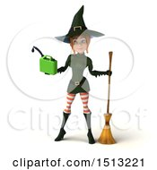 Clipart Of A 3d Sexy Green Witch Holding A Gas Can On A White Background Royalty Free Illustration