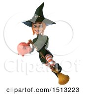 Clipart Of A 3d Sexy Green Witch Holding A Piggy Bank On A White Background Royalty Free Illustration