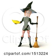 Clipart Of A 3d Sexy Green Witch Holding A Banana On A White Background Royalty Free Illustration