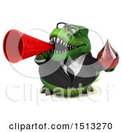 Clipart Of A 3d Green Business T Rex Dinosaur On A White Background Royalty Free Illustration