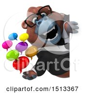 3d Business Orangutan Monkey Holding Messages On A White Background