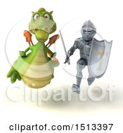 Clipart Of A 3d Armored Knight Chasing A Green Dragon On A White Background Royalty Free Illustration