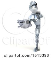 Clipart Of A 3d Armored Knight Holding A Plane On A White Background Royalty Free Illustration