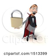 Clipart Of A 3d Dracula Vampire Holding A Padlock On A White Background Royalty Free Illustration