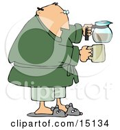 Tired Man Just Waking Up In The Morning Wearing Slippers Pajamas And A Green Robe Holding A Coffee Pot And A Mug