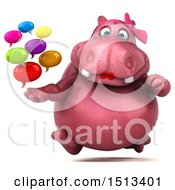 3d Pink Henrietta Hippo Holding Messages On A White Background