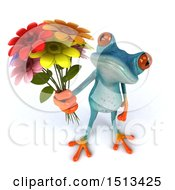 Clipart Of A 3d Blue Frog Holding Up Flowers On A White Background Royalty Free Illustration