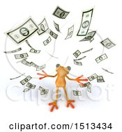 Clipart Of A 3d Blue Frog With Cash Money On A White Background Royalty Free Illustration