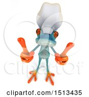 Clipart Of A 3d Blue Chef Frog Holding Two Thumbs Up On A White Background Royalty Free Illustration