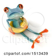 Clipart Of A 3d Blue Frog Sitting With An Inner Tube On A White Background Royalty Free Illustration