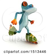 Clipart Of A 3d Blue Frog Rollerblading On A White Background Royalty Free Illustration