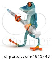 Clipart Of A 3d Blue Frog Holding A Syringe On A White Background Royalty Free Illustration