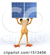 Poster, Art Print Of 3d Yellow Frog Holding A Solar Panel On A White Background
