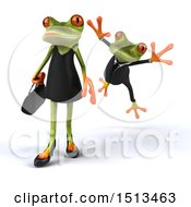 Clipart Of A 3d Formal Green Springer Frog Leaping At A Female On A White Background Royalty Free Illustration
