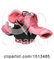 3d Pink Business Elephant Holding Up A Middle Finger On A White Background