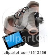3d Business Elephant Holding A Tablet On A White Background