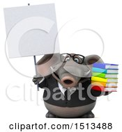 3d Business Elephant Holding Books On A White Background