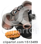 3d Business Elephant Holding A Hot Dog On A White Background