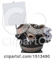 3d Business Elephant Holding A Dollar Sign On A White Background
