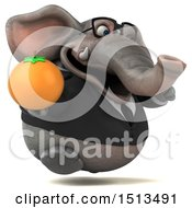 3d Business Elephant Holding An Orange On A White Background