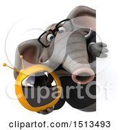 3d Business Elephant Holding A Tv On A White Background