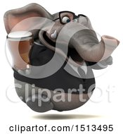 3d Business Elephant Holding A Beer On A White Background